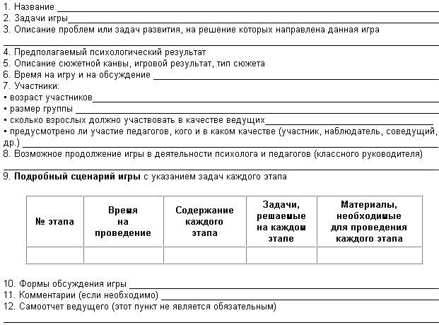 Редакция Контрольная работа № для слушателей курсов повышения  Сценарий большой психологической игры